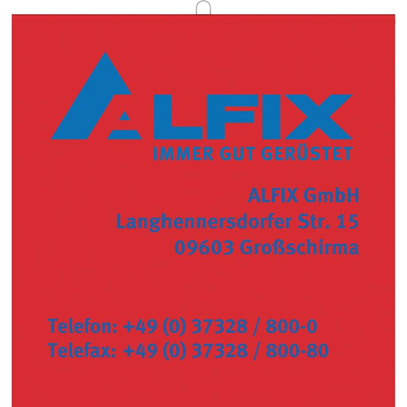 Bannière rouge en plastique avec logo ALFIX 30 x 30 cm