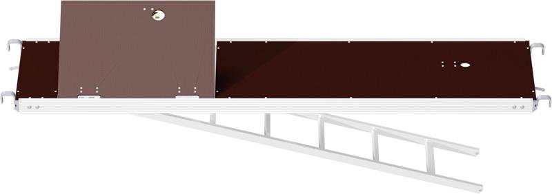 MULTI - Plancher alu/bois RE avec trappe décalée et échelle 2.57 x 0.60 m