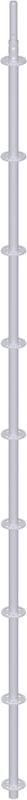 METRIQUE - Montant vertical de départ en acier avec raccord de tube embouti 4.16 m